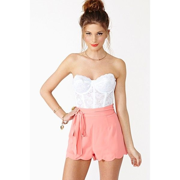 Pixie Scalloped Shorts ($42) found on Polyvore