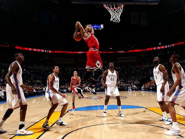 Деррик Роуз Chicago Bulls Slam Dunk Искусство Огромный Печати Плаката TXHOME D5207