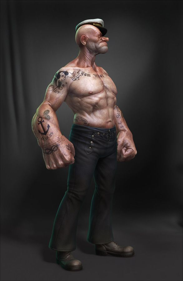 Here are 4 awesome images of Popeye in a realistic view.