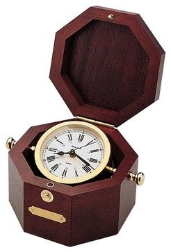 Quartermaster Wood/Brass Table Alarm Clock - Nautical Decor - Transitional - Clocks - Expressions of Time, LLC