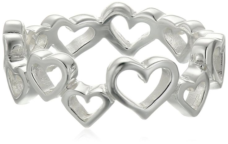 Sterling Silver Polished Open Heart Band Ring *** You can get more details by clicking on the image.