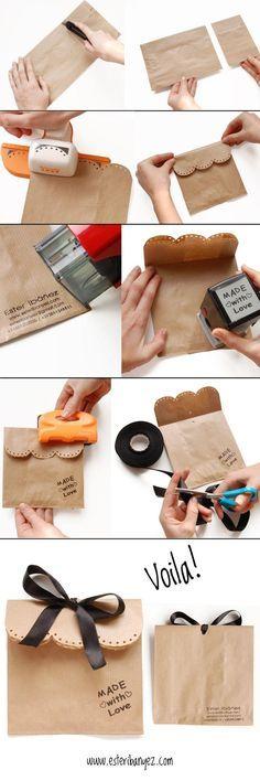 decorative brown paper gift bag