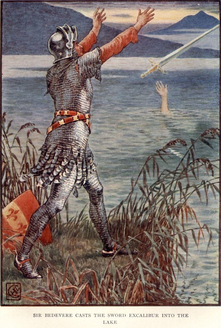 King Arthur Sir Bedivere throwing Excalibur into the lake  - Walter Crane