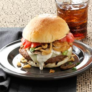 Steak House Burgers - The burger is mixed with steak sauce and onion soup mix prior to grilling.