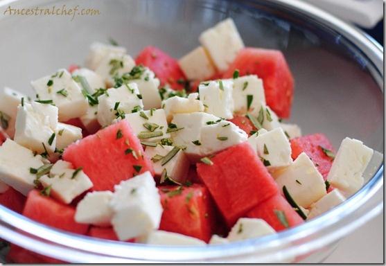 Watermelon Feta Rosemary Salad