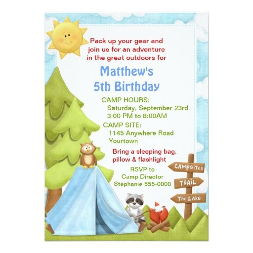 251 best camp out invitations images on pinterest birthday childrens camping birthday invitation 5 x 7 invitation card stopboris Images