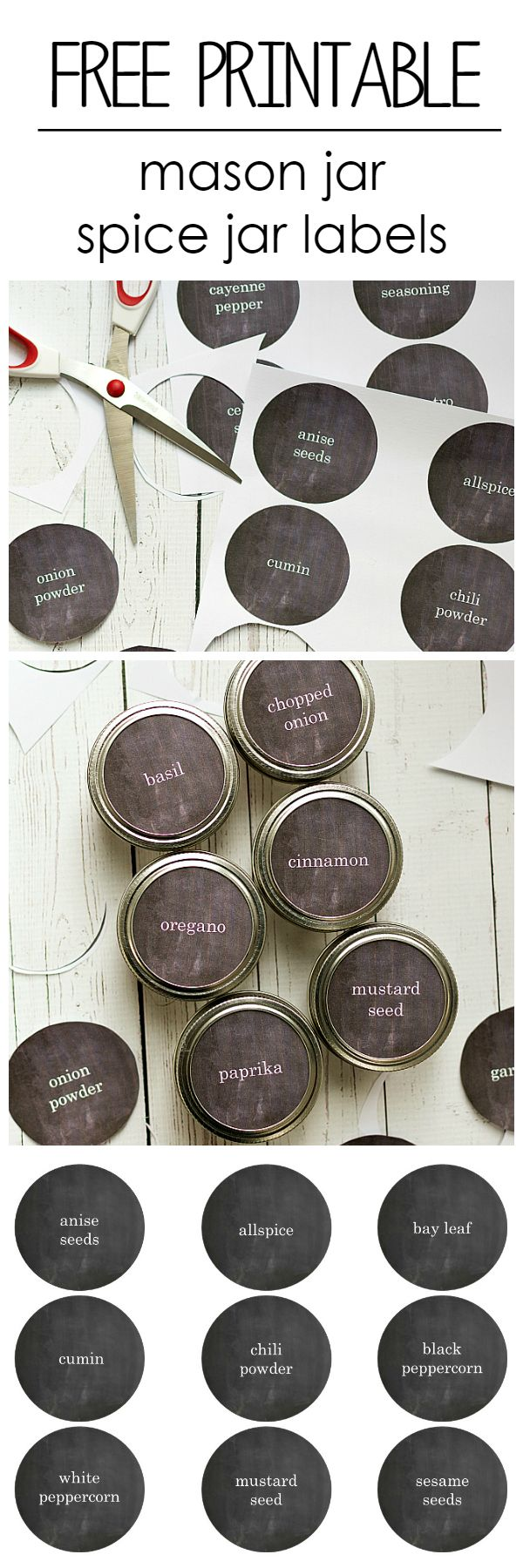 Mason Jar Craft Ideas: Spice Drawer Organization and Free Printable Labels