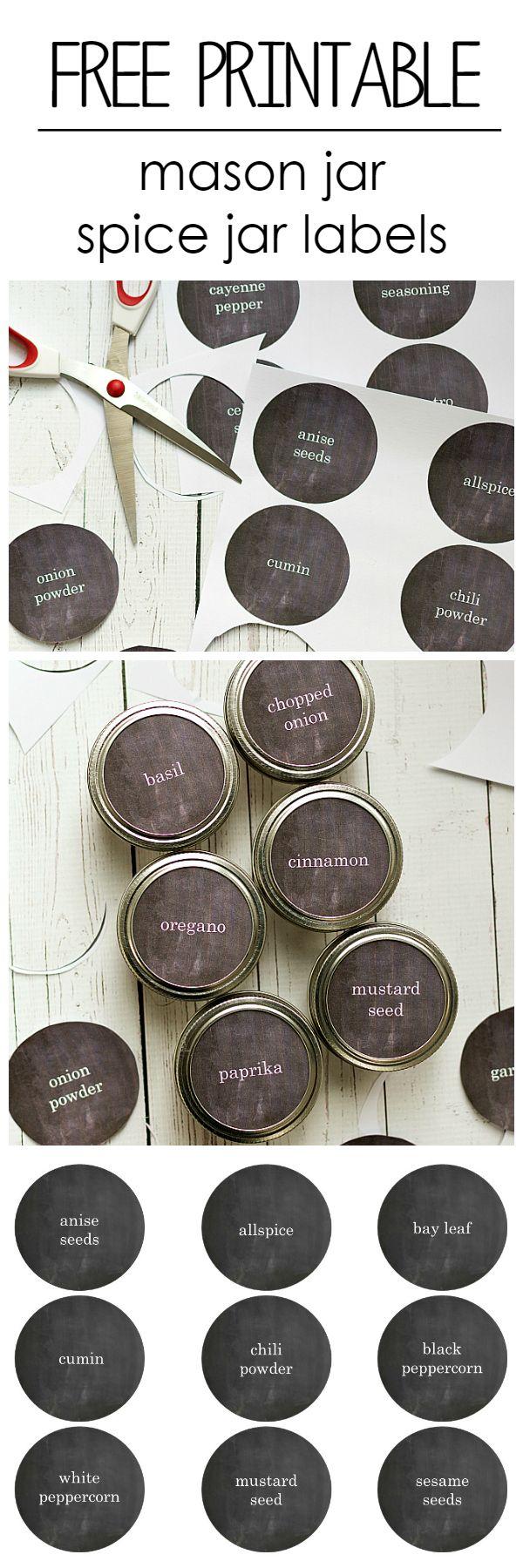 Mason Jar Craft Ideas: Spice Drawer Organization and Free Printable Labels