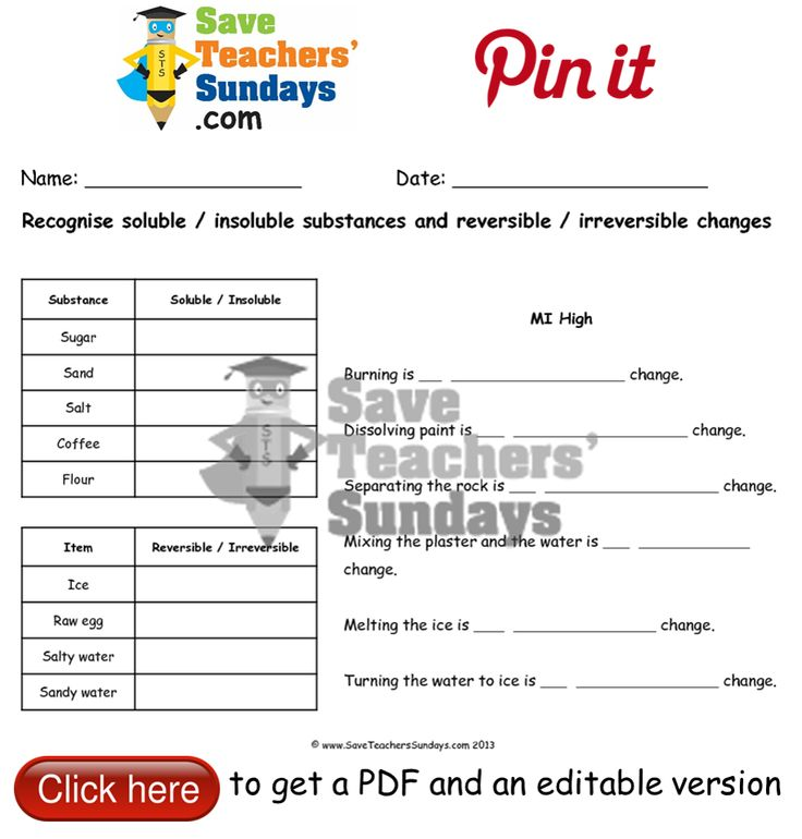 Reversible and irreversible changes and soluble and insoluble substances worksheet. Go to http://www.saveteacherssundays.com/science/year-5/510/lesson-7-reversible-and-irreversible-changes-and-soluble-and-insoluble-substances/ to download this Reversible and irreversible changes and soluble and insoluble substances worksheet. #SaveTeachersSundaysUK