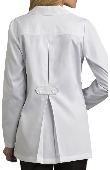 """You'll love the fashionable details on this Med Couture Women's Back Tab Pleat 30"""" Lab Coat, including a pleated back with buttoned tab belt. This jacket has a two-button closure, front patch ..."""