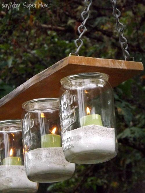 Lampadari Country Fai Da Te.Mason Jar Chandelier Diy Friday Lights Candles Pinterest