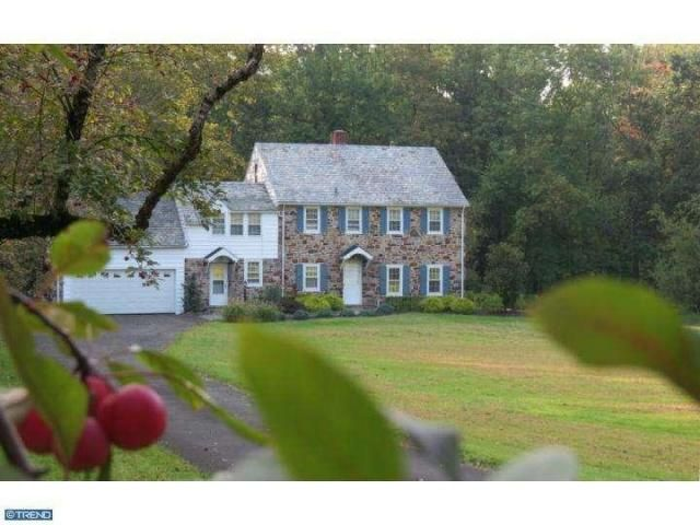 5635 Point Pleasant Pike. Bucks County stone farmhouse. Tree-lined driveway with apple trees. Hardwood floors, carved fireplace mantel, crown molding, chair rail, 6/6 windows, paneled doors, deep windowsills, 2 sets of pie stairs. Kitchen with center island. Family room with 2-sided fireplace, 2 walls of windows, built-in entertainment cabinet. Second level with 4 bedrooms. Master suite with wood stove, private bath, double vanity, commode, bidet, Whirlpool tub.
