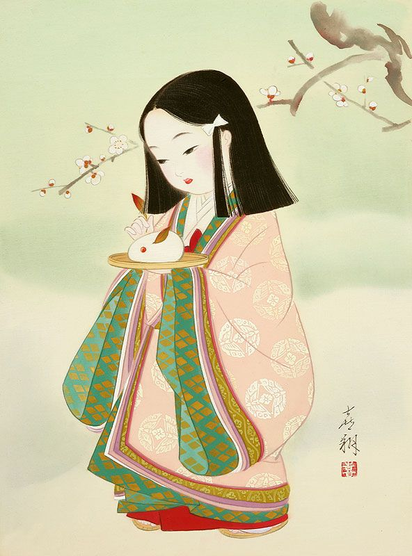 大正の子供のイラスト I would love to make this the theme of one or both of my girls bedrooms. I think these pictures are gorgeous and peaceful.