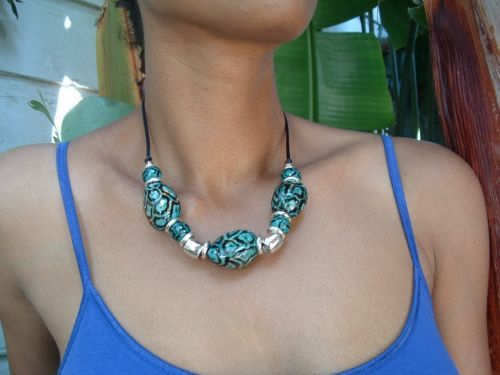 Urban Jungle Tagua Nuts Glossy Animal Print Necklace and Silver by Allie | eBay