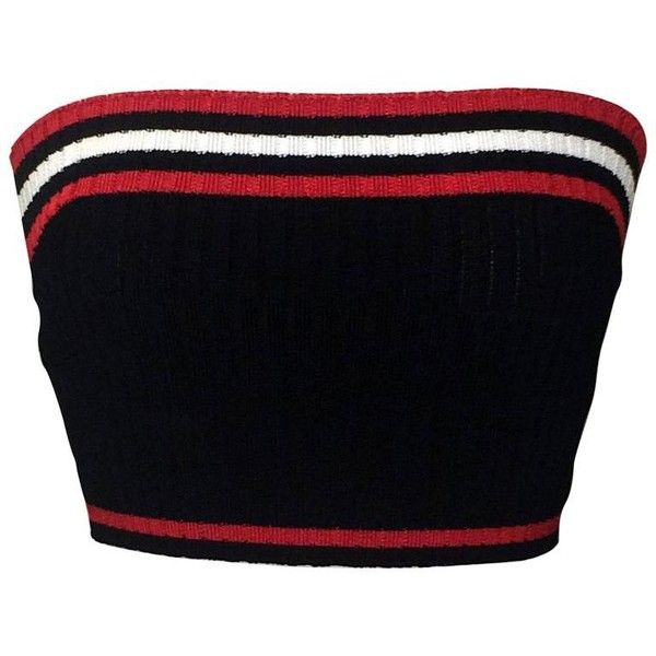 Preowned Prada Rib Knit Sporty Red White And Blue Cropped Tube Top (715 AED) ❤ liked on Polyvore featuring tops, white, white tops, red top, tube top, stretchy tops and stretch top