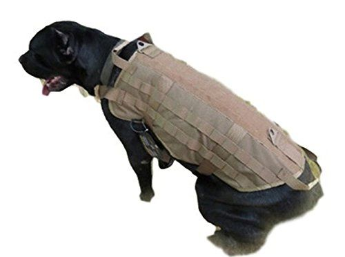 HLCJ Tactical Dog Vest Training Molle Harness Police Molle Packs Coat For Pet Hiking Walking *** You can find out more details at the link of the image.