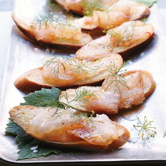Grappa-Cured Striped Bass | Make-ahead hors d'oeuvres, from shrimp-and-pork spring rolls to tomato tartlets.