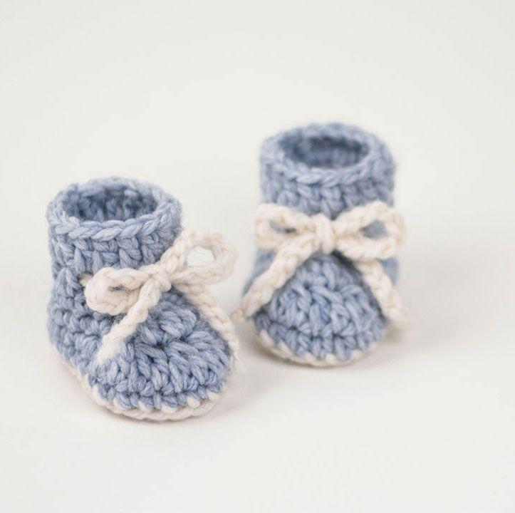 Crochet Baby Booties Winter Snowflake
