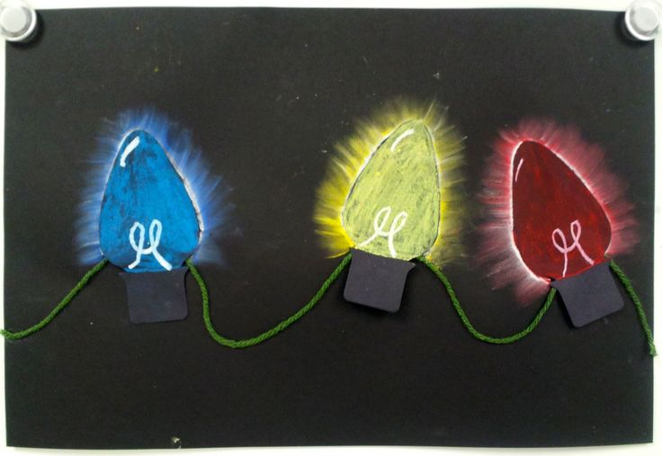 Art with Ms. Gram: 4th grade. Colored value holiday lights using oil pastel and yarn.
