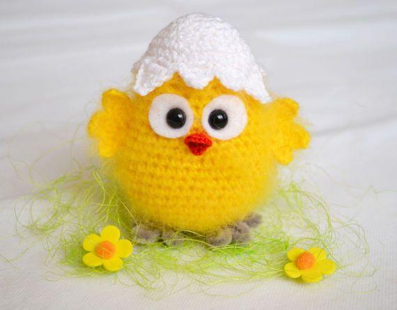 Hatched chicken crochet pattern PDF Crochet yellow chicken amigurumi stuffed toy Chick in eggshell Easter ornament
