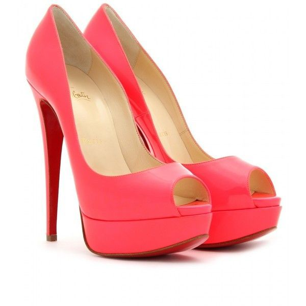 Christian Louboutin Lady Peep 150 Platform Pumps ($945) ❤ liked on Polyvore featuring shoes, pumps, heels, sapatos, high heels, rose paris, christian louboutin pumps, peep-toe pumps, heels & pumps and neon pumps