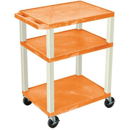 H. Wilson Tuffy 3-Shelf A/V Cart with Electric, Orange Shelves and Putty Legs