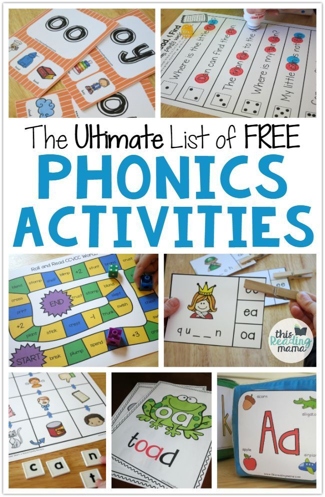 The Ultimate List of FREE Phonics Activities - listed by phonics skill level - This Reading Mama