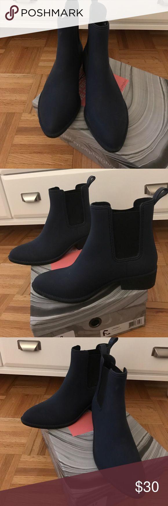 Jeffrey Campbell Navy rubber rain boots Jeffrey Campbell rubber rain boots. Navy and easily wipeable. Jeffrey Campbell Shoes Winter & Rain Boots