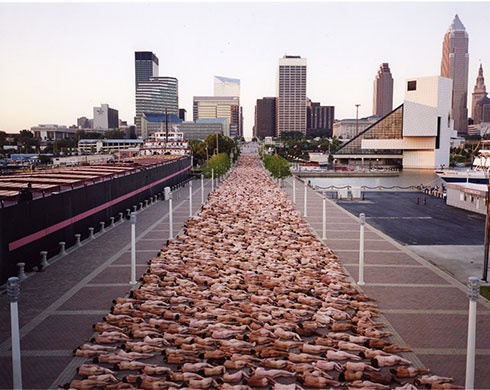 Spencer Tunick: Cleveland, Ohio  My husband is in this shot!