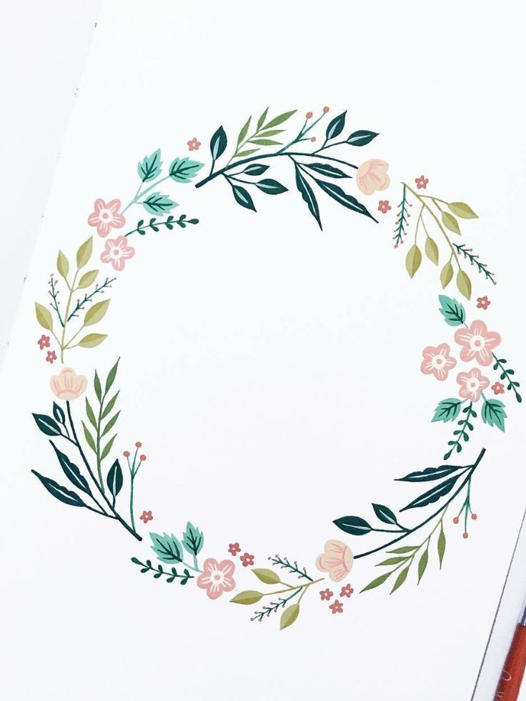 Forget Me Not And Meadow Herb Watercolor Round Vector Frame