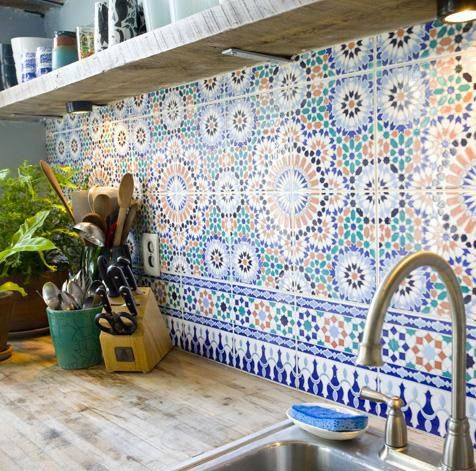 ...: Idea, Butcher Blocks, Back Splash, Kitchens Tile, Kitchens Backsplash, Tile Backsplash, Mosaics Tile, Wood Countertops, Moroccan Tile
