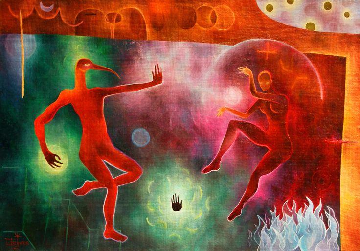 A LA VENTA / ON SALE. Tu risa y la mía y los espíritus que bailan, Dhiyana, 2013. Óleo sobre cholguán, 53x37 cms. www.cosmounion.blogspot.com
