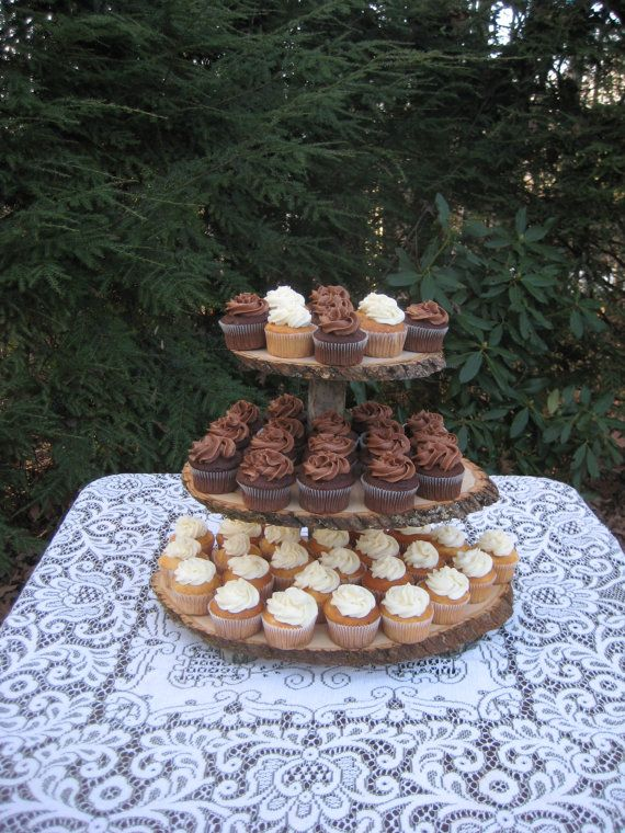 Rustic Cupcake Stand Wedding Log Slices 3 Tier door YourDivineAffair