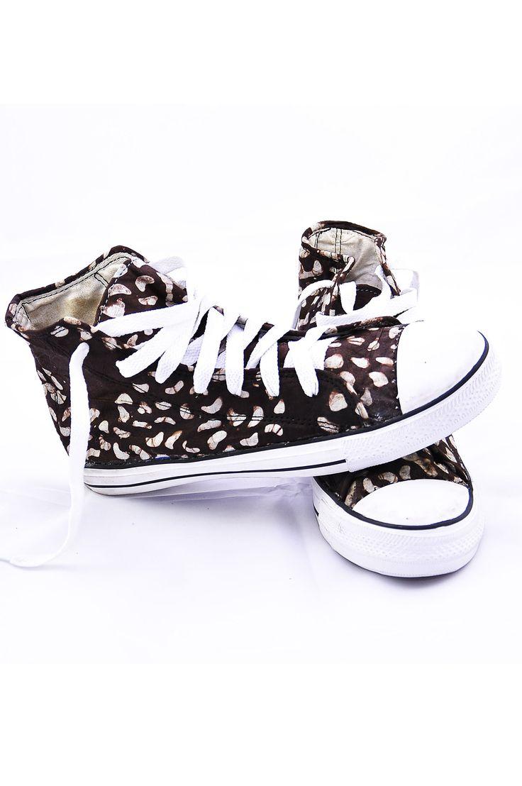 Brown batik converse sneakers – Kipfashion