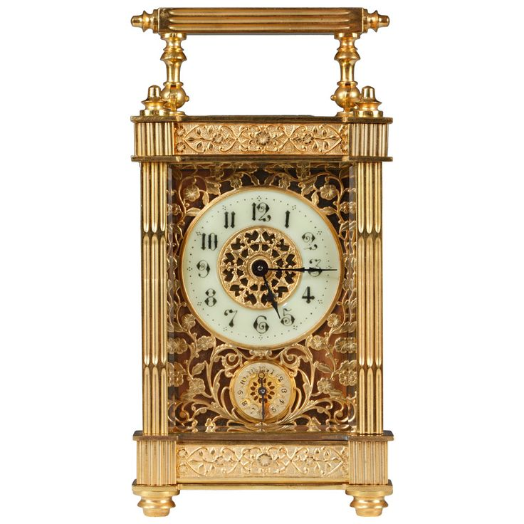 French Bronze Carriage Clock, 19th Century   From a unique collection of antique and modern clocks at https://www.1stdibs.com/furniture/more-furniture-collectibles/clocks/