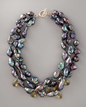 Wendy Brigode  Black Baroque Pearl Necklace