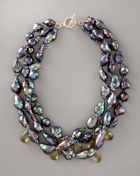 Wendy Brigode Black Baroque Pearl Necklace