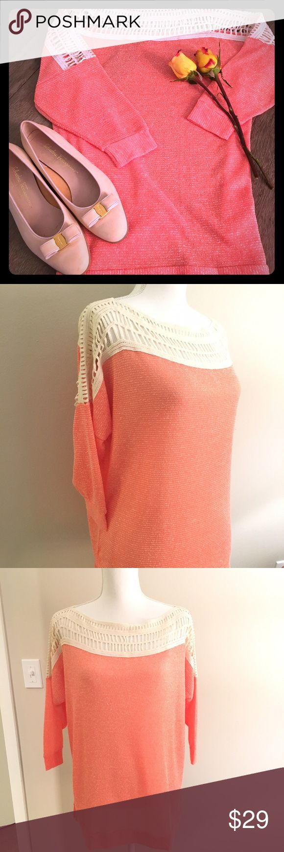 Coral & Cream 3/4 Length Slouchy Sweater- S/M/L Coral & Cream 3/4 Length Slouchy Sweater with a Crochet Top- Sizes Small, Medium, & Large.  Brand New Boutique Item!  Perfect for the spring- lightweight sweater that can transition from warm afternoons to cooler evenings.  Measurements Approx: Small: Length: 27 inches; Bust: 46 inches; Medium: L: 28 inches; B: 52 inches; Large: L: 30 inches; B: 56 inches.  Bust measures roomy because top is slouchy style.  Color is a light peachy coral & cream…