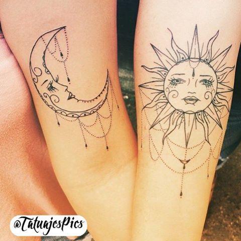 Tatuajes Vergotas, Tatuajes Pareja, Tatuajes Para Parejas, Tatuajes Rosas,  Tatuajes De Luna Y Sol, Tatuaje Hermana, Tatuaje Sol Y Luna, Tattoos Lunas,