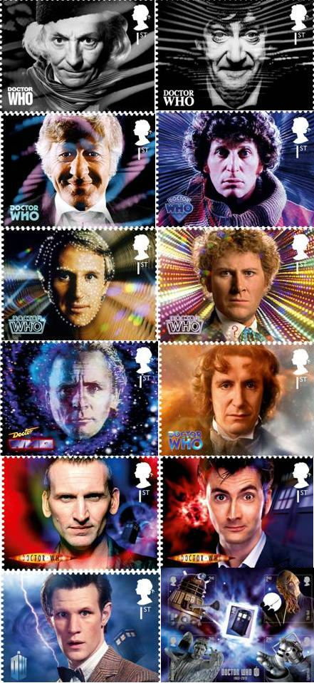 A set / collection of Doctor Who postage stamps released by the Royal Mail in the UK