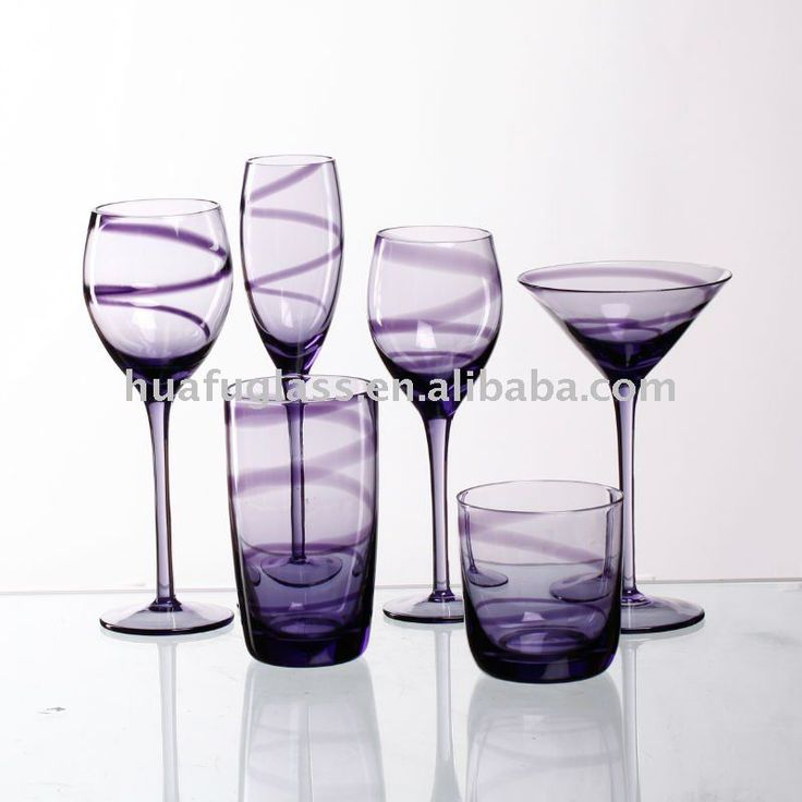 Purple wine glass dinner set