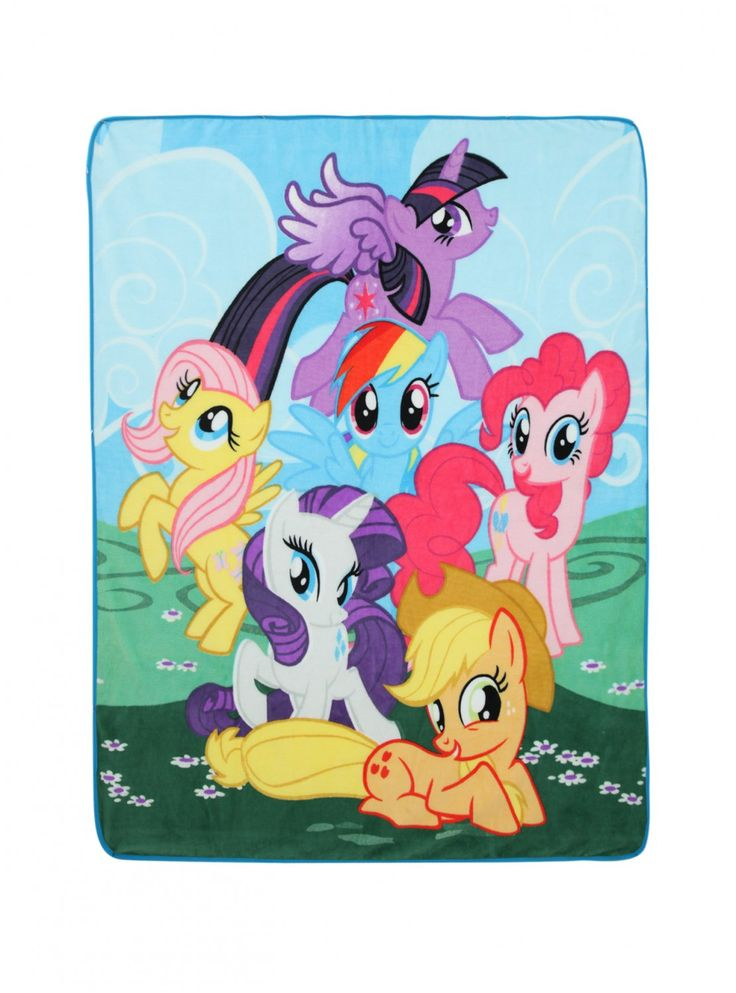 "Retired MLP | My Little Pony Mane Six 48"" x 60"" Super Plush Fleece Throw Blanket - Princess Twilight Sparkle,  Fluttershy,  Rainbow Dash, Pinkie Pie, Rarity, & Apple Jack"