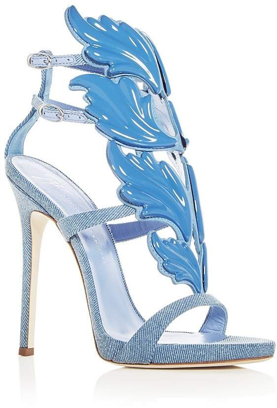 ae09e9926c2d Giuseppe Zanotti Women s Cruel Coline Denim Wing Embellished High Heel  Sandals