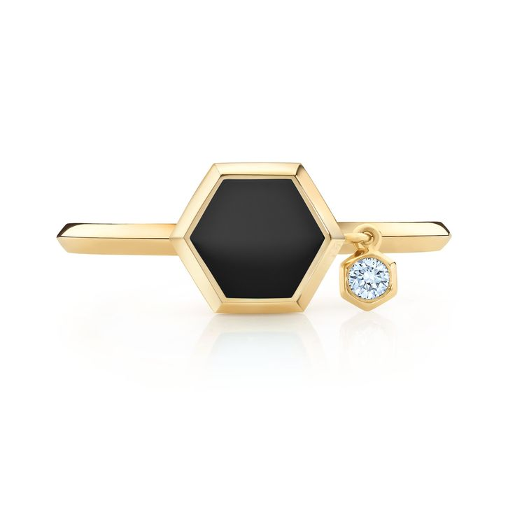 Bee bold. Bee beautiful. And always bee chic. Inspired by nature's master craftsman and our good friend, the honeybee, the bold new Birks Bee Chic® Collection will raise more than just eyebrows. Its striking hexagonal latticework, rendered in precious 18kt yellow gold, evokes the honeybee's distinctive honeycomb. Beechic 18k yellow gold black onyx ring with diamond