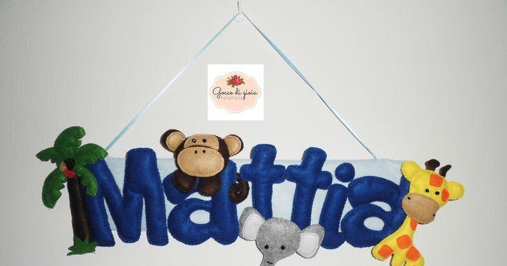 Fiocco nascita Mattia è stato realizzato interamente a mano (ritagliato, cucito) in feltro e pannolenci a forma di targa con nome e anima...