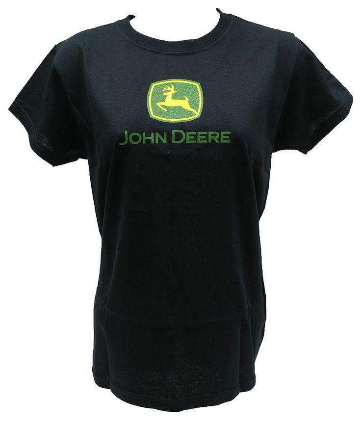 Ladies Black John Deere Logo Tee Shirt