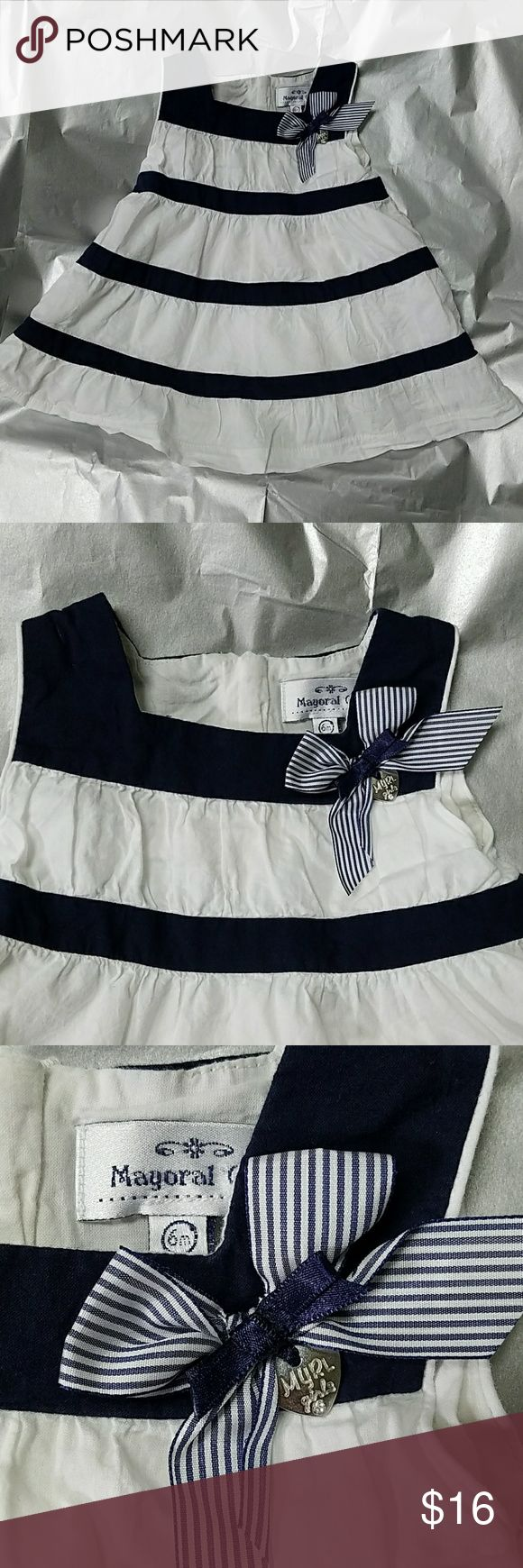 Mayoral Chic white and blue sundress How adorable is this? What a great way to start the summer with this fully lined 100% cotton sundress made by Mayoral Chic. Perfect for barbecues and summer parties!  Excellent condition, no tears, stains, smoke-free and pet-free home mayoral chic Dresses