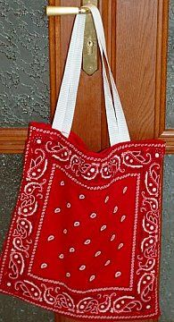finished bandanna bag.....easy for kids to do and with all the choices of bandanas out there, these would make cute overnight totes for teens too!!!