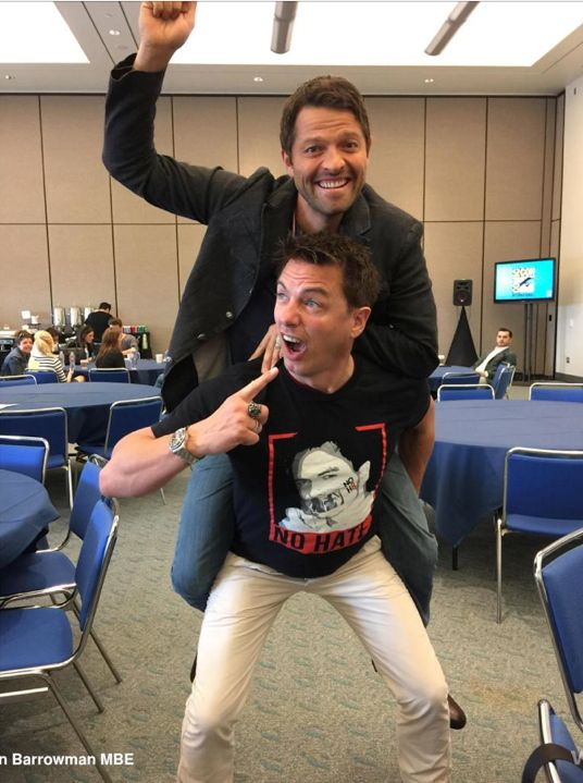 Misha Collins + John Barrowman = best photos ever. And the one guy in the background just chillin