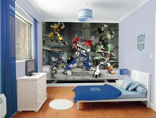 Elegant Attractive Transformer Revenge Wall Murals In Small Kids Bedroom Design  Ideas